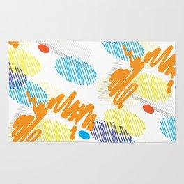 Contemporary interior design shapes unique pattern orange, blue decoration style Rug