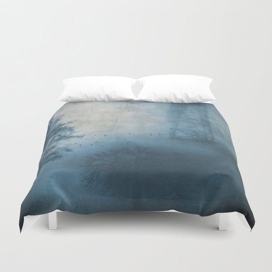 bridge in fog Duvet Cover