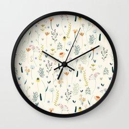 Vintage Inspired Wildflower Print Wall Clock