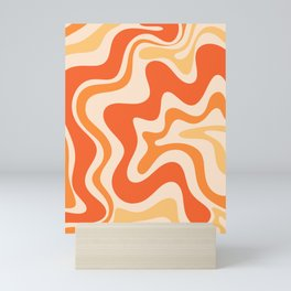 Tangerine Liquid Swirl Retro Abstract Pattern Mini Art Print