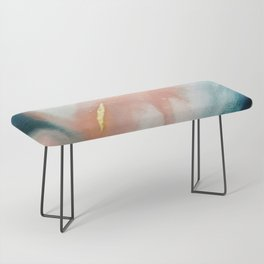 Celestial [3]: a minimal abstract mixed-media piece in Pink, Blue, and gold by Alyssa Hamilton Art Bench