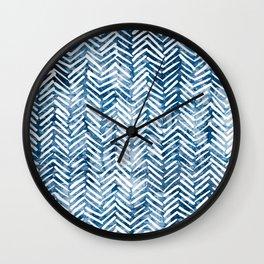 Boho Blue Shibori Tribal Pattern Wall Clock