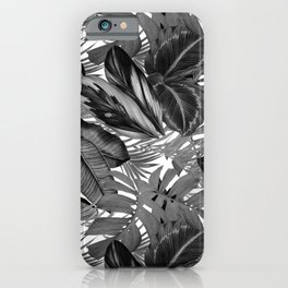 gray and white tropical leaves pattern elegant botanical leaf iPhone Case