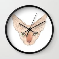 sphynx Wall Clocks featuring Sphynx by Stine Bergskas