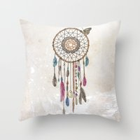 catcher in the rye Throw Pillows featuring Lakota (Dream Catcher) by Rachel Caldwell