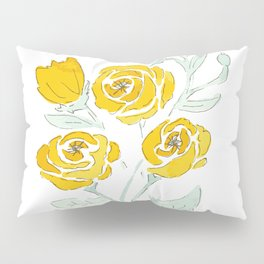 Yellow Rose Print Pillow Sham
