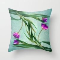 twins Throw Pillows featuring twins by lucyliu