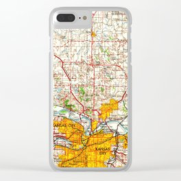 Kansas City vintage old map 1960, offic decoration Clear iPhone Case