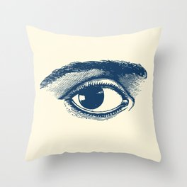 I see you. Navy Blue on Cream Throw Pillow