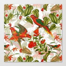 Vintage & Shabby Chic - Birds in Flower Jungle Canvas Print