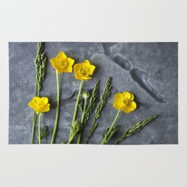 Hello Buttercup - Yellow Flower  Rug