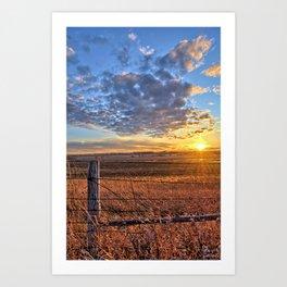Sunset Fenceline 2 Art Print