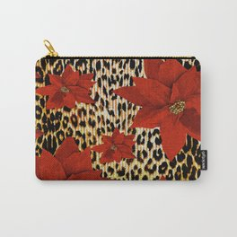 Animal Print Leopard and Red Poinsettia Carry-All Pouch
