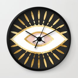 gold foil evil eye in blush Wall Clock