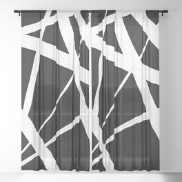 Geometric Line Abstract - Black White Sheer Curtain