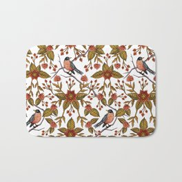 New Beginnings - Spring/Summer Floral Pattern With Robins, Branches & Flowers Bath Mat