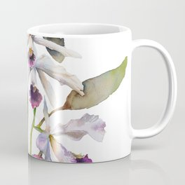 Cattleya Orchid White and Purple with Goldfish Muted Pallet Botanical Design Coffee Mug