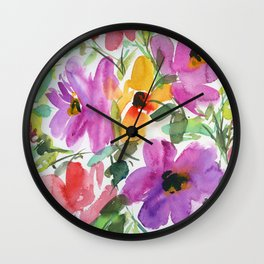 floral watercolor: purple and orange flowers Wall Clock