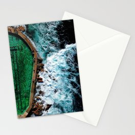 An aerial shot of an ocean rock pool in Bronte beach, Sydney Australia Stationery Cards