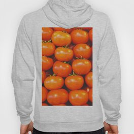 Delicious red tomatoes. Vintage aerial view of tomatoes. Summer tray market agriculture farm full of organic vegetables. Retro style Hoody