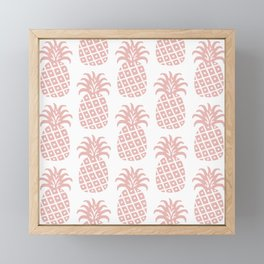 Retro Mid Century Modern Pineapple Pattern Dusty Rose Framed Mini Art Print