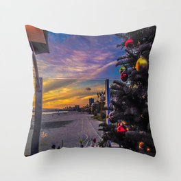 Belmont Shores Christmas Sunset Throw Pillow