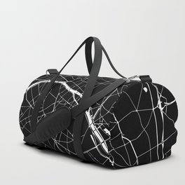 Paris France Minimal Street Map - Black on White Duffle Bag