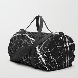 Paris France Minimal Street Map - Black on White Duffle Bag