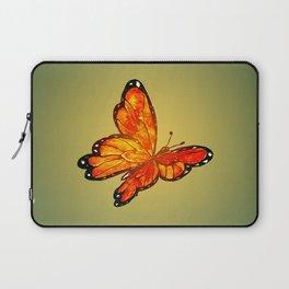 Orange Watercolor Butterfly Design Laptop Sleeve