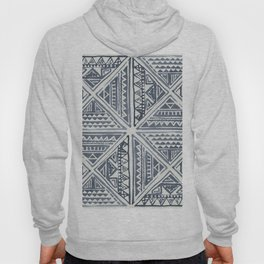 Simply Tribal Tile in Indigo Blue on Lunar Gray Hoody