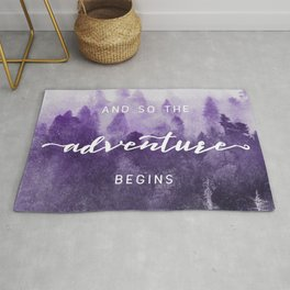 Ultra Violet Forest - And So The Adventure Begins Nature Photography Typography Rug