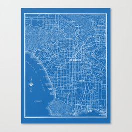 Los Angeles Street Map Canvas Print