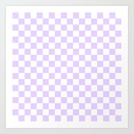 Large Chalky Pale Lilac Pastel Color and White Checkerboard Art Print