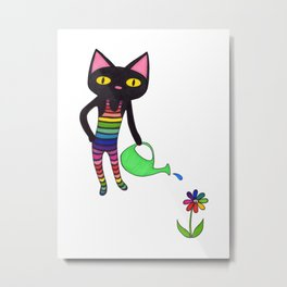 Black Cat Wearing Rainbow Unitard While Gardening Metal Print