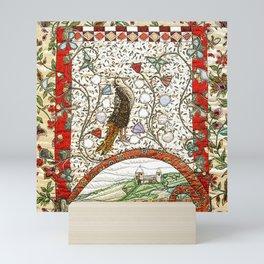 Medieval bird in brown Mini Art Print