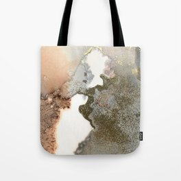 Abstract ink painting of black, pink and gold Tote Bag