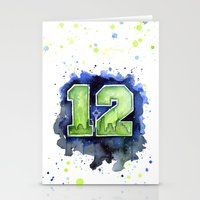seahawks Stationery Cards featuring 12th Man Seahawks Seattle Go Hawks Art by Olechka