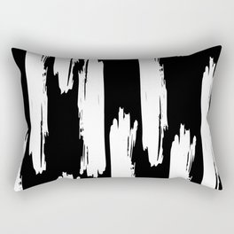 Black And White Retro Bold Paint Lines Pattern Rectangular Pillow