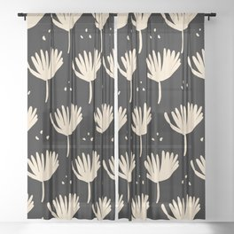 Leaves in black and ivory Sheer Curtain