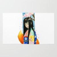 kitsune Area & Throw Rugs featuring Kitsune Kit by Stormwolf Studios