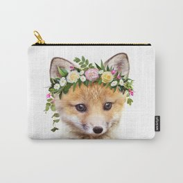 Baby Fox With Flower Crown, Baby Animals Art Print By Synplus Carry-All Pouch