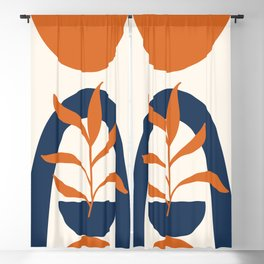 Abstract Shapes 58 in Orange and Navy Blue (Sun, Rainbow and Plant Abstraction) Blackout Curtain