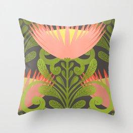 King Protea Flower Pattern - Gray Throw Pillow