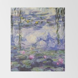 1917 Water Lilies oil on canvas. Claude Monet. Vintage fine art. Throw Blanket