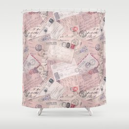 Nostalgic Letter and Postcard Collage Soft Pink Shower Curtain