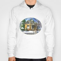 matty healy Hoodies featuring The Little Brown House by Shelley Ylst Art