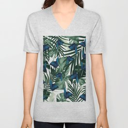 Tropical Butterfly Jungle Leaves Pattern #1 #tropical #decor #art #society6 Unisex V-Neck