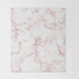Pink Rose Gold Marble Natural Stone Gold Metallic Veining White Quartz Throw Blanket