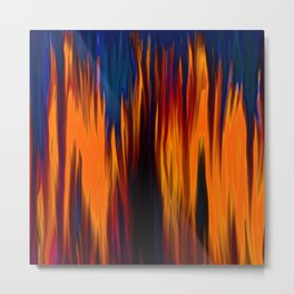 Blue Smoke Orange Flame Oi Painting Metal Print