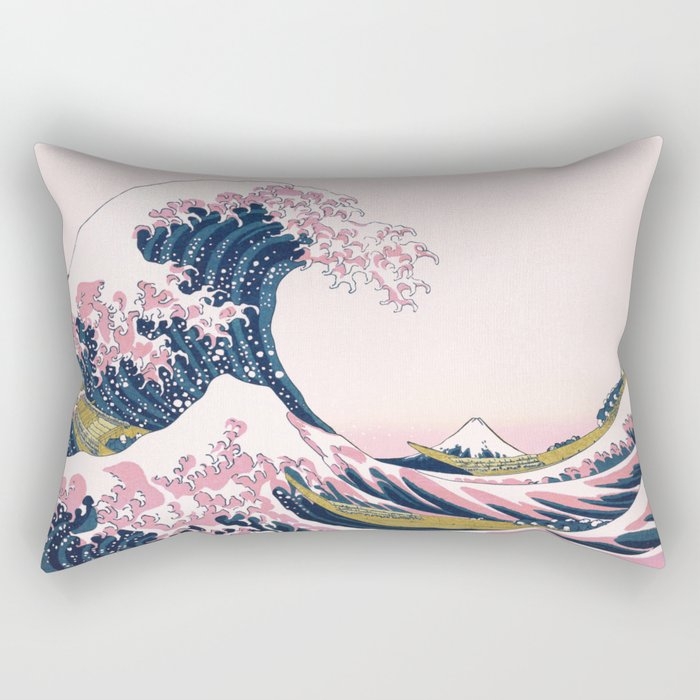 The Great Pink Wave off Kanagawa Rectangular Pillow